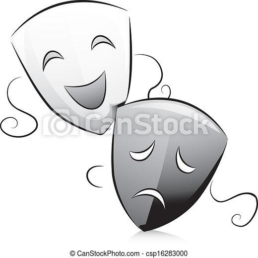 vector clipart van drama  witte   black   maskers black drama masks clipart black and white Drama Symbol