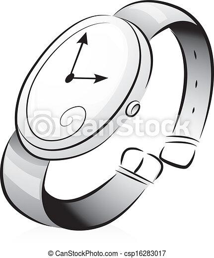 Armbanduhr skizze  Vektor Clipart von schwarz, weißes, armbanduhr - Black, und, White ...