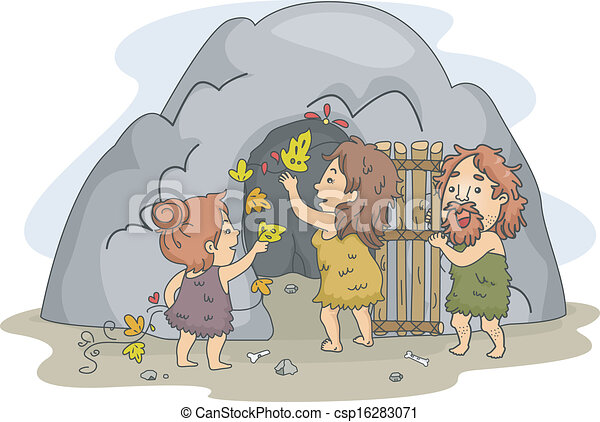 Caveman Family Art - csp16283071