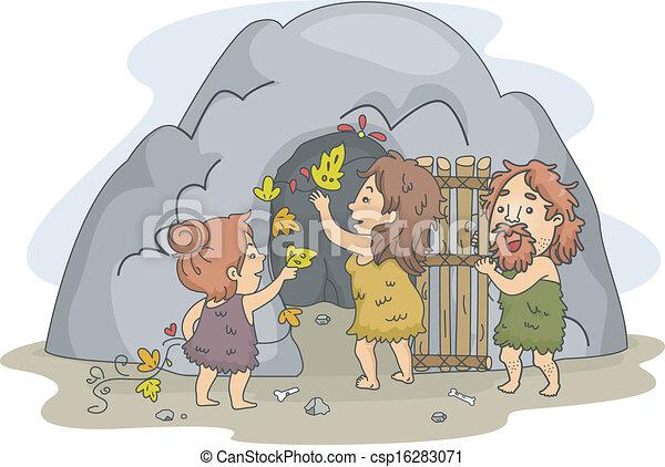 Caveman Family Art - csp16283071