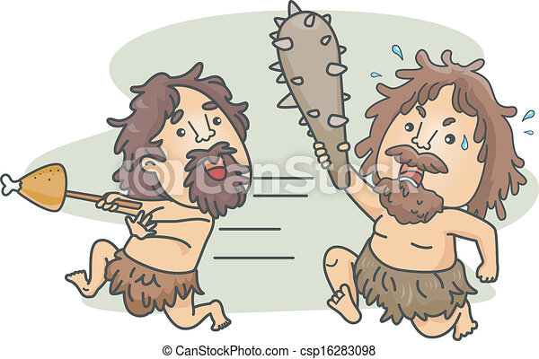 Caveman Food Fight - csp16283098