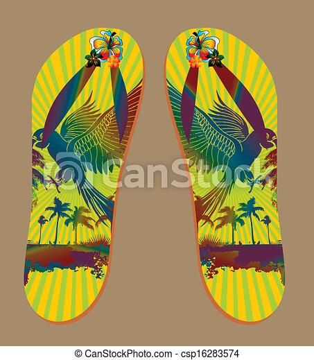 Beach Sandals Drawing Vector Palm Beach Sandals