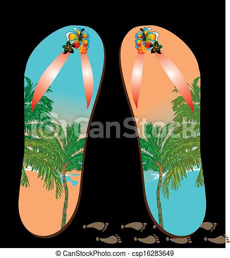 Beach Sandals Drawing Palm Beach Sandals Vector Art