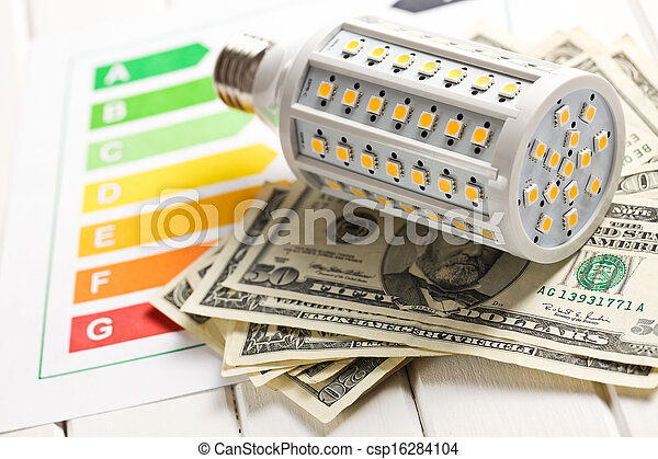 LED lightbulb with energy label and us dollars