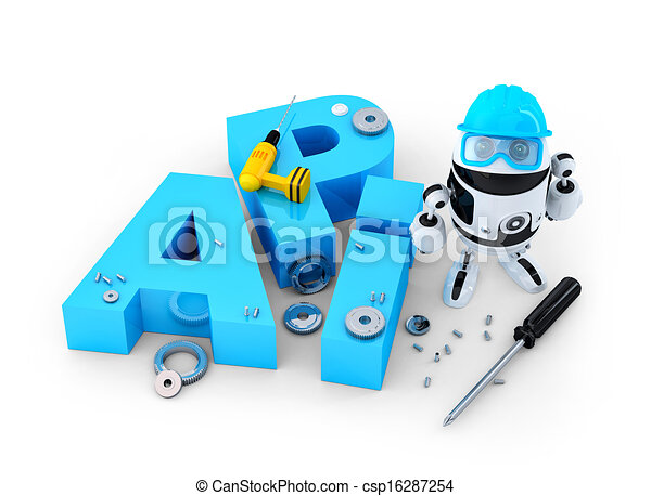 Robot with tools and application programming interface sign. Technology concept - csp16287254