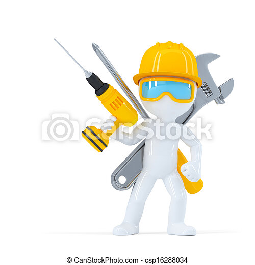 Construction worker/Builder with tools - csp16288034