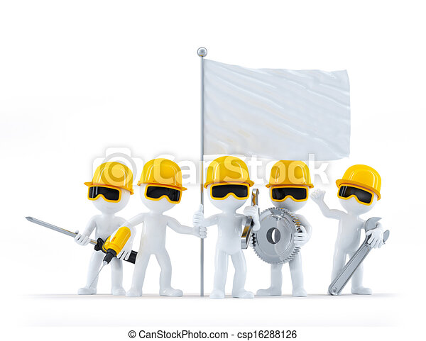 Group of construction workers/builders with tools and blank flag. Isolated on white background - csp16288126