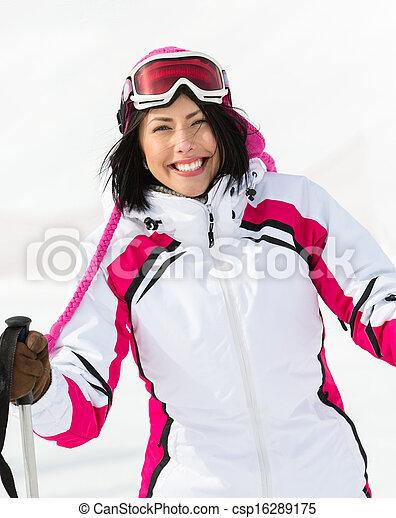 Portrait of girl who goes skiing