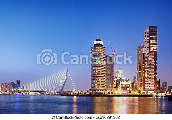 City of Rotterdam Skyline in the Evening - csp16291382