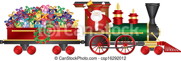 Santa Claus on Train Delivering Presents Illustration - csp16292012