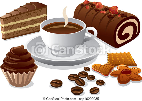 Vector of coffee and cakes csp16293085 - Search Clip Art ...