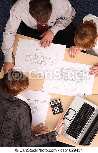 Architect, clients, blueprints - csp1629434