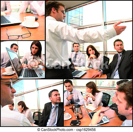 grupo, poniendo común, empresa / negocio - csp1629456