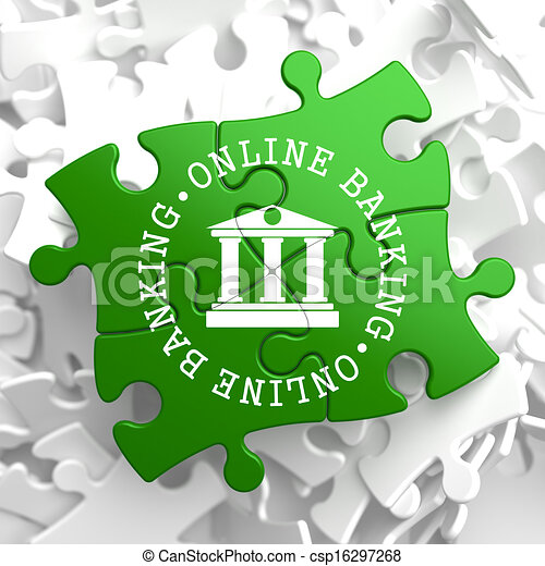 Online Banking Concept on Green Puzzle Pieces. - csp16297268