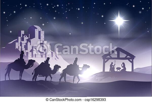 Nativity Christmas Scene - csp16298393