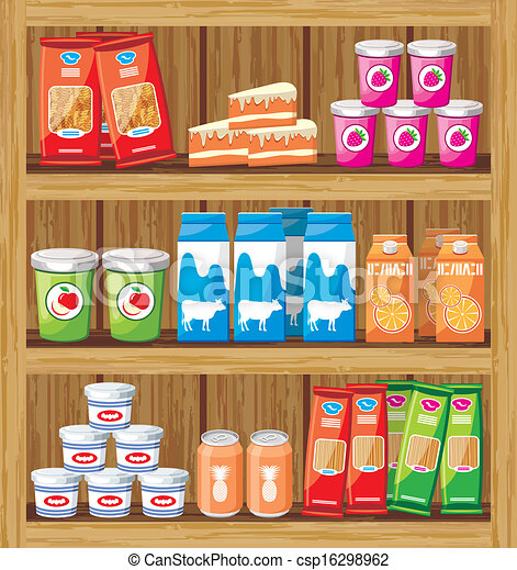 Supermarket. Shelfs with food - csp16298962