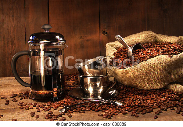 Sack of coffee beans with french press - csp1630089