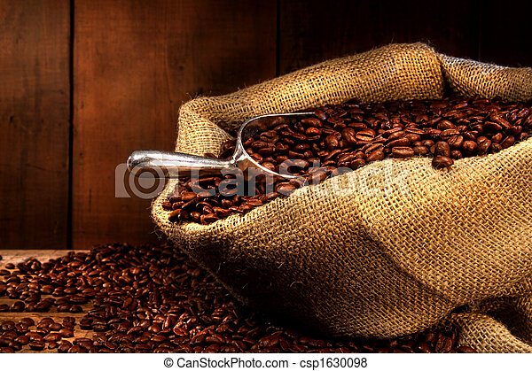 Coffee beans in burlap sack - csp1630098