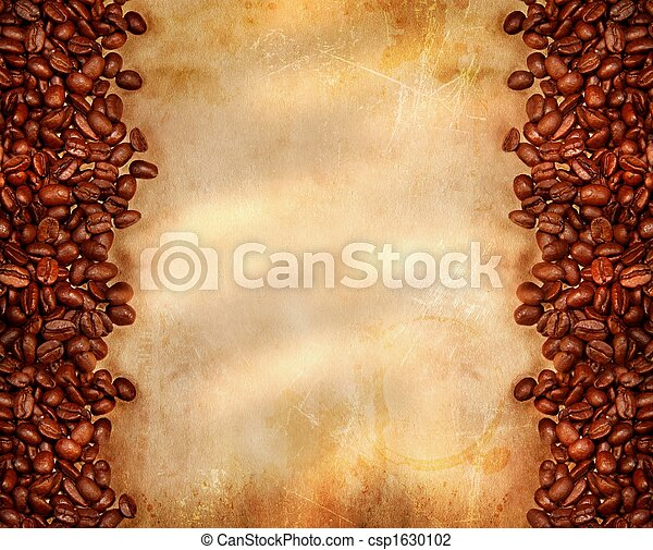 Coffee beans on old parchment paper - csp1630102