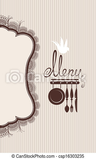 Restaurant menu design with lace table napkin and hand drawn text on stripe background. - csp16303235