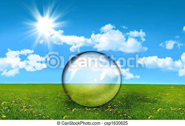 Glass sphere in a field of tall grass - csp1630625