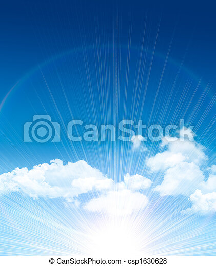 Beautiful blue sky with clouds - csp1630628