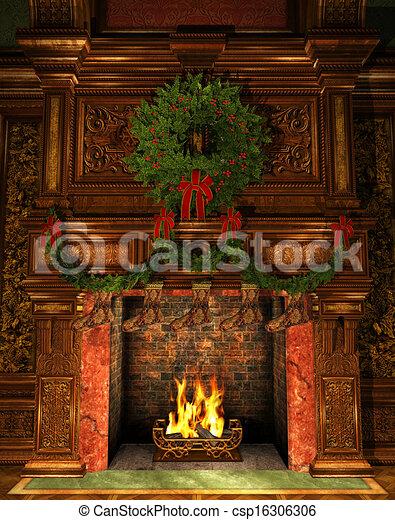 christmas fireplace drawing