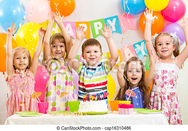 happy kids celebrating birthday holiday - csp16310486