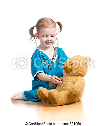 child playing doctor with toy - csp16310591