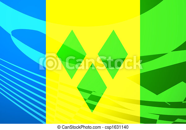 Flag of Saint Vincent and Grenadines air travel illustration - csp1631140