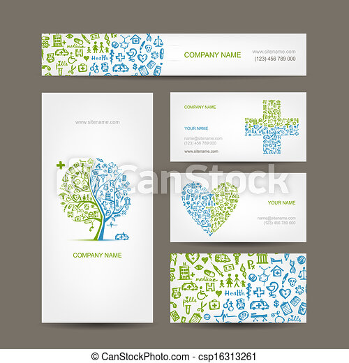 Business cards with medical objects for your design - csp16313261