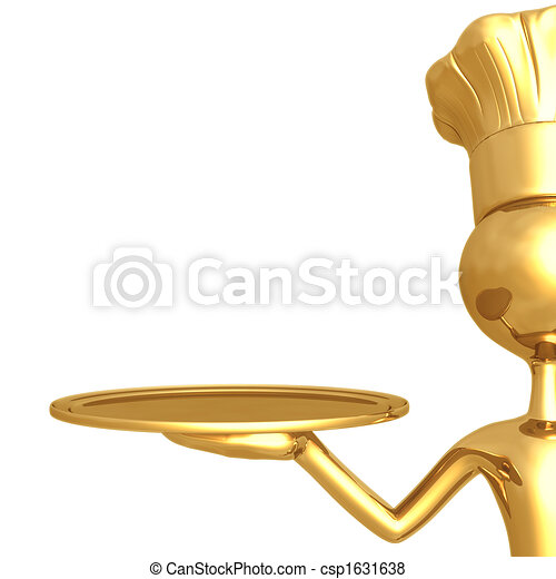 Golden Chef With Empty Serving Tray - csp1631638
