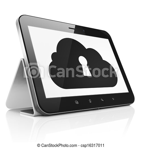 Cloud networking concept: black tablet pc computer with Cloud With Keyhole icon on display. touch pad on White background, 3d render - csp16317011