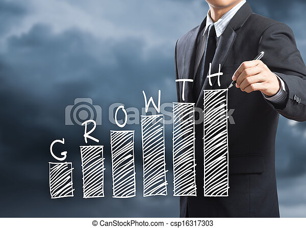 Man writing growth chart concept - csp16317303
