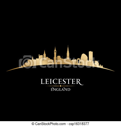 Leicester England city skyline silhouette black background - csp16318377