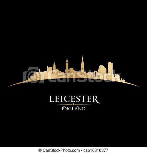 Leicester England city skyline silhouette black background  - csp16318377