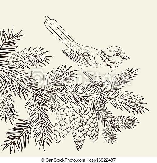 Bird on christmas fir and pinecone. - csp16322487