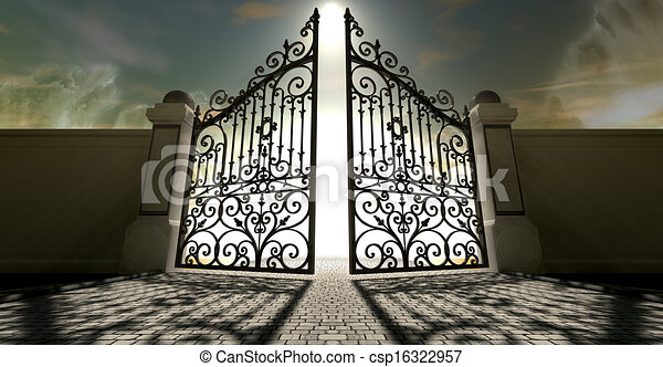 Stock Illustrations of Heavens Open Ornate Gates - A set ...