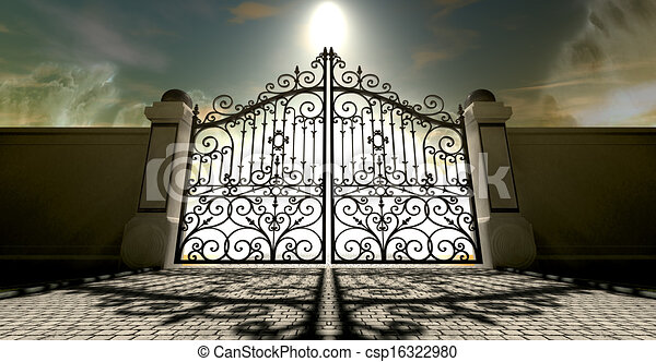 Stock Illustration Of Heavens Closed Ornate Gates A Set