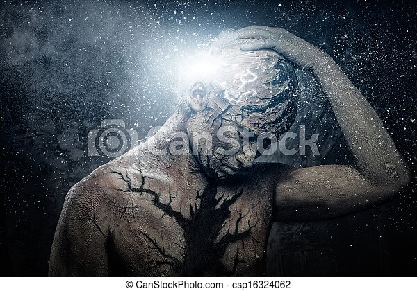 Man with conceptual spiritual body art - csp16324062