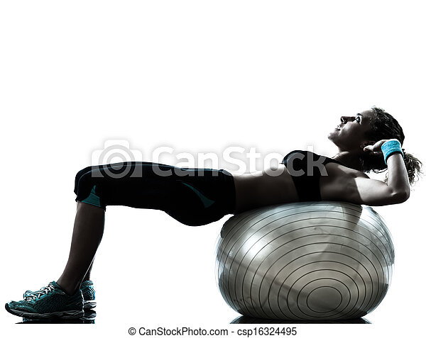 woman exercising fitness ball workout   - csp16324495