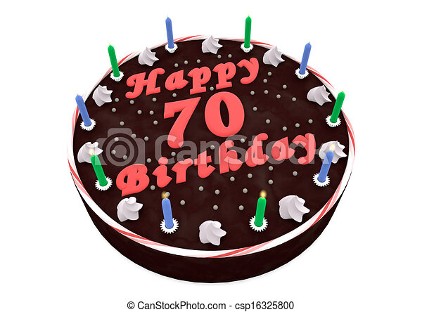 Stock Illustration Of Chocolate Cake For 70th Birthday