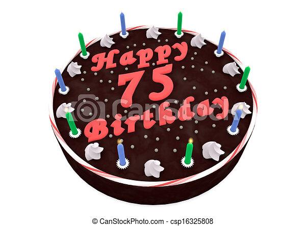 75th Birthday Cake Clipart