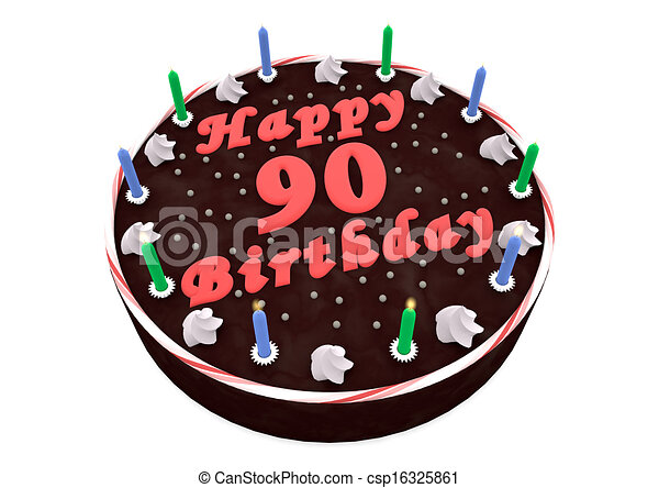 Stock Illustration Of Chocolate Cake For 90th Birthday