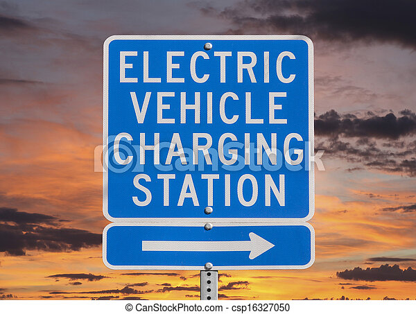 Electric Vehicle Charging Station Sign with Sunset Sky - csp16327050