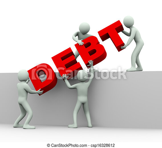 Clipart of 3d people - concept of debt - 3d illustration of men ...