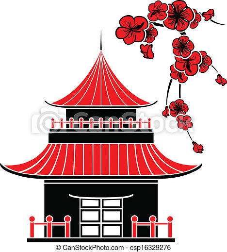 Line art eps picture pictures graphic graphics drawing drawings - Vectors Illustration Of Asian House And Cherry Blossoms