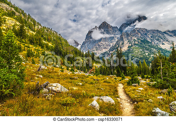 Hiking Trail in the Cascade Canyon - Grand Teton National Park - csp16330071