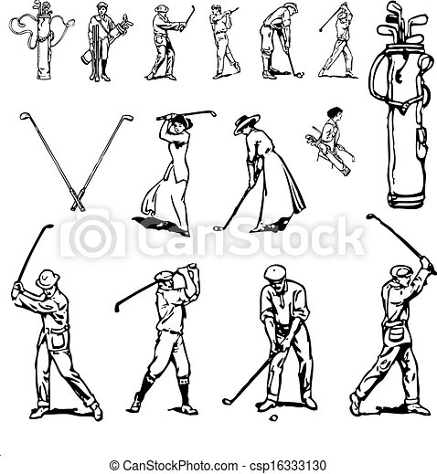 Vintage Illustrations Vector Vector Clipart Vintage Golf
