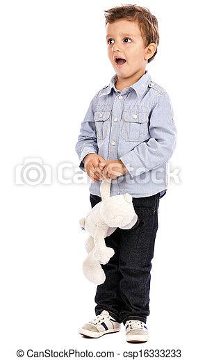 男孩, 很少, 他的, 熊, 玩具, 肖像, 可愛, 玩 - csp16333233
